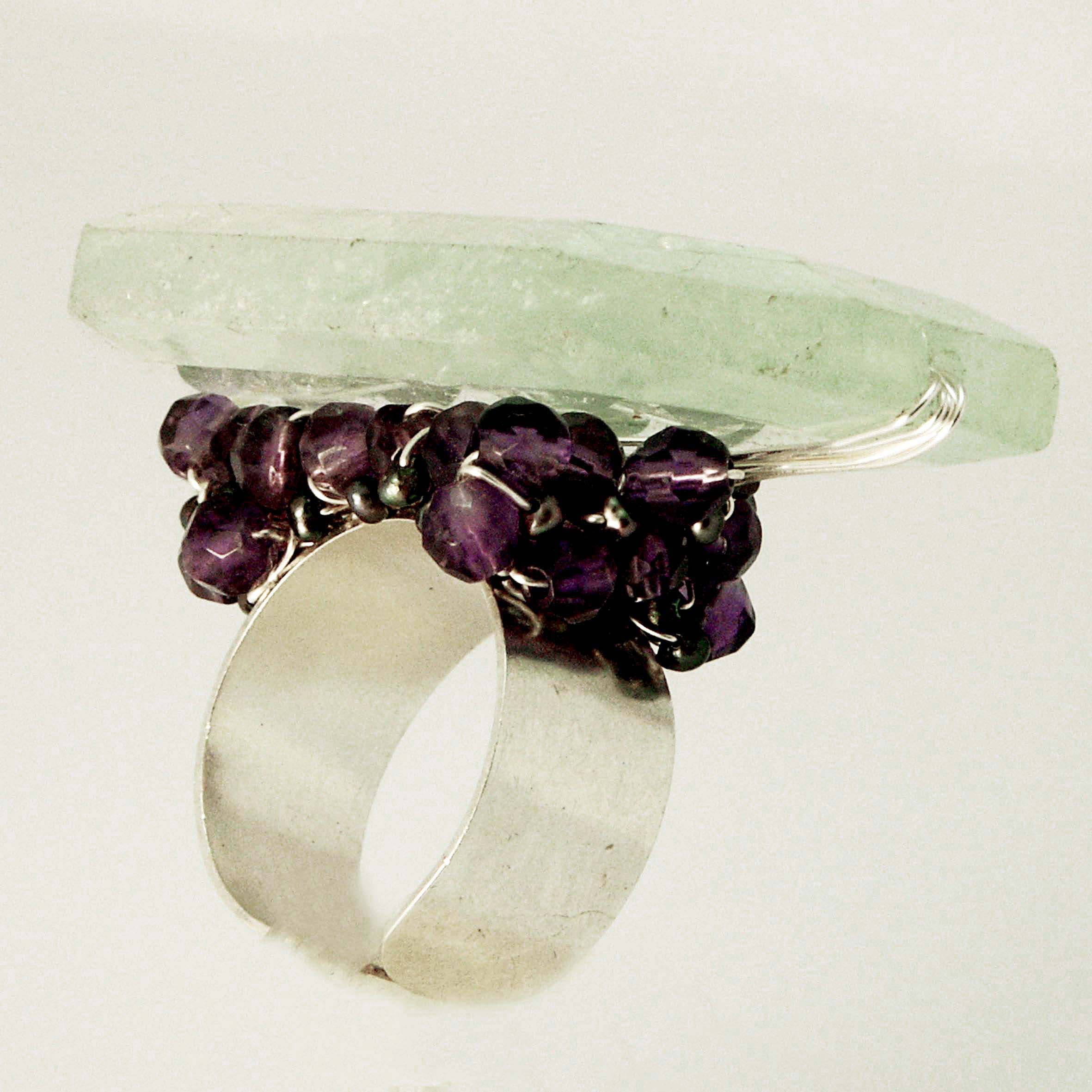 img ring rings rainbow silver sterling puple fluorite grams size