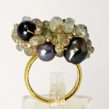 Salomé Osorio | Rings Agua Marine & Pearls Ring